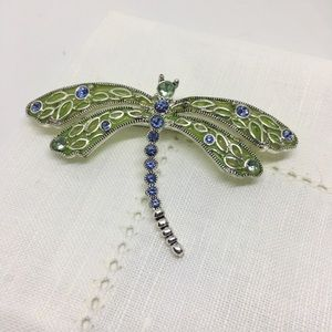 Dragonfly Brooch Pin Blue Green Silver Large Pin
